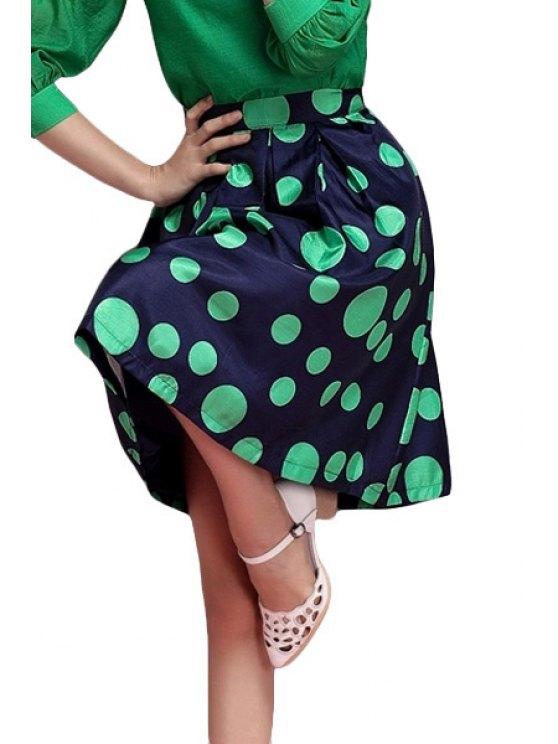 online Polka Dot Pattern A-Line Skirt - GREEN S