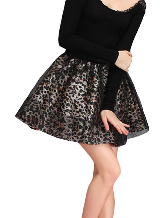 fashion Leopard Print Voile Splicing Skirt - LEOPARD ONE SIZE(FIT SIZE XS TO M)
