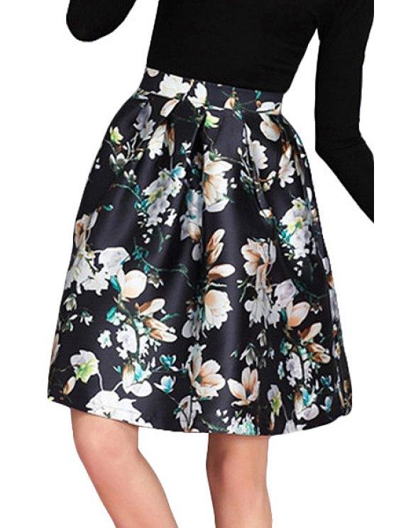 sale Blossom Print A-Line Skirt - BLACK S