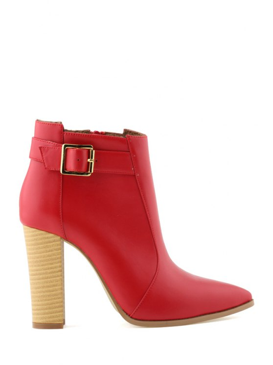 affordable Buckle Pointed Toe Chunky Heel Boots - RED 35