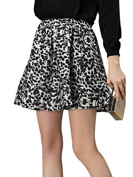 women Leopard Print A-Line Skirt - GRAY S