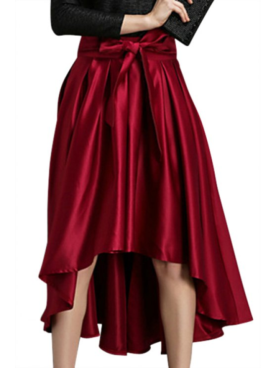 ladies Solid Color Bowknot High-Low Hem Skirt - PURPLISH RED M