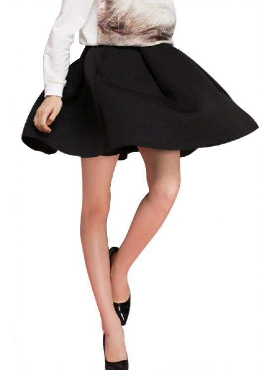 best Flouncing Solid Color A-Line Skirt - BLACK S