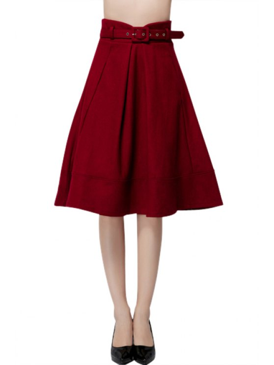 latest Solid Color with Belt Worsted Skirt - WINE RED S