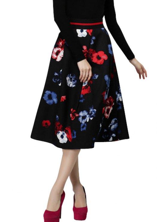trendy Full Flower Print A-Line Skirt - RED S