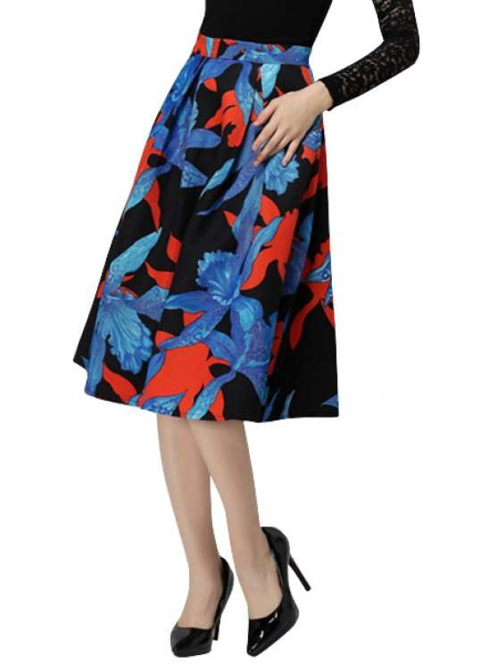 womens Floral Print High Waisted Skirt - COLORMIX S