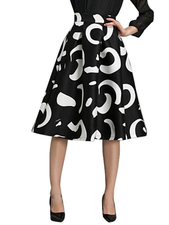 hot Abstract Print High Waisted Skirt - BLACK S