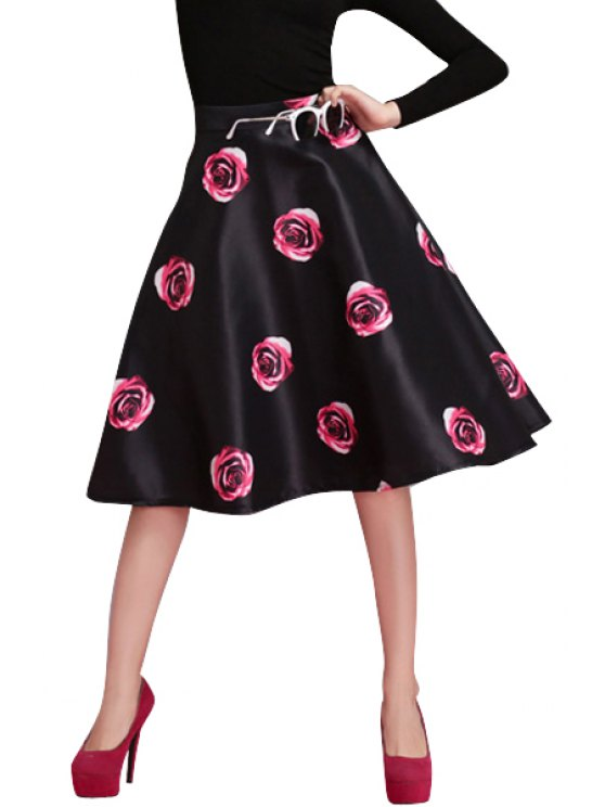 fashion Rose Print A-Line Skirt - RED S
