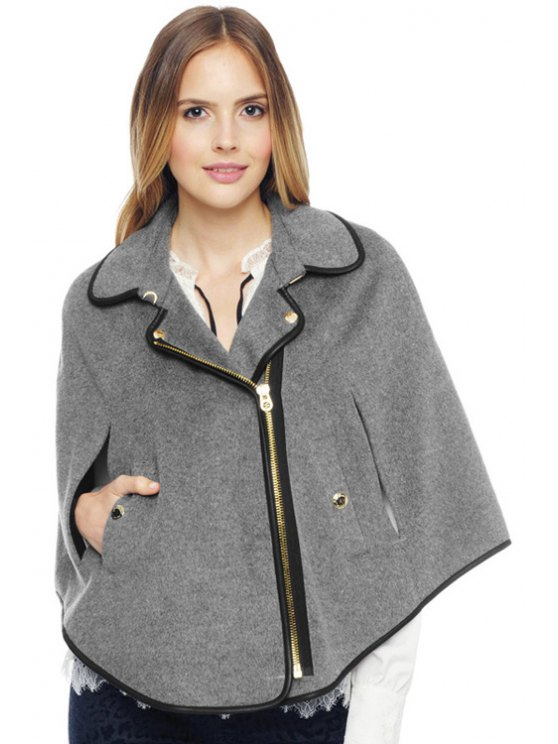 shop Turn-Down Collar Cape-Style Coat - GRAY 2XL