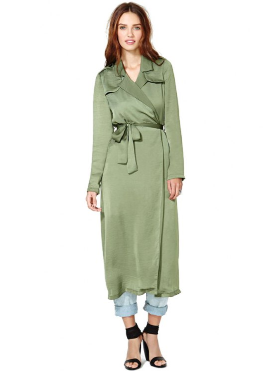 chic Solid Color Long Sleeve Self-Tie Trench Coat - ARMY GREEN XS