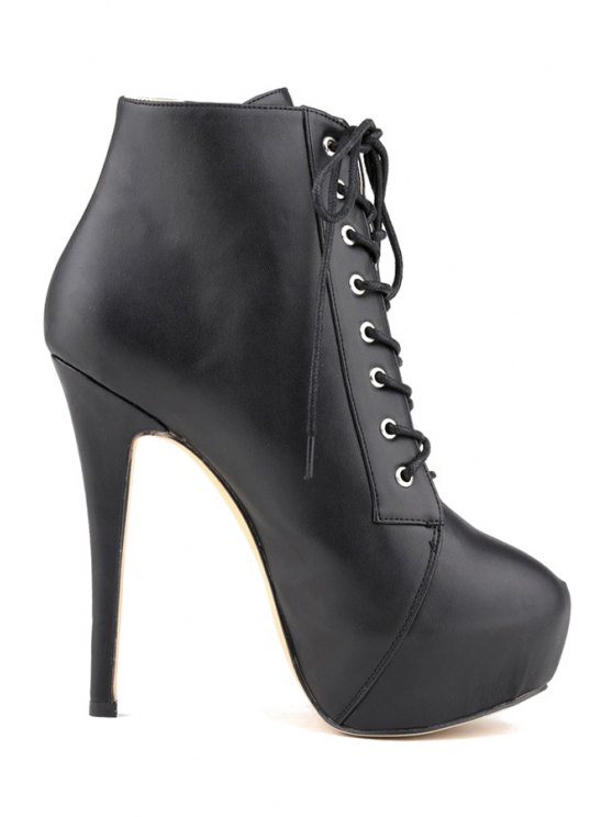 buy Sexy High Heel Platform Solid Color Boots - BLACK 35