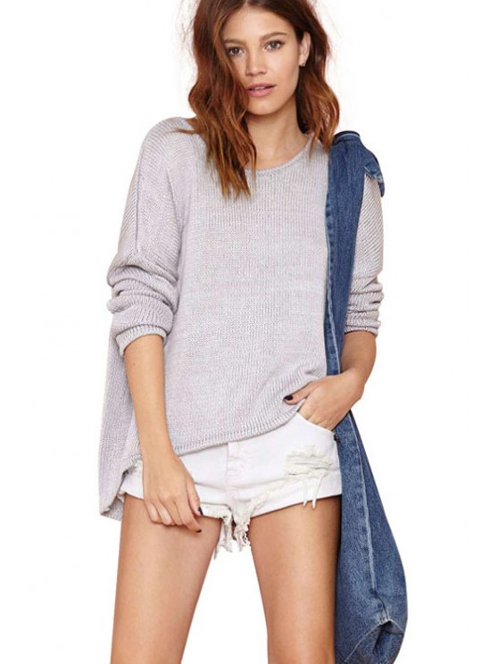 fancy Long Sleeves Solid Color Knitwear - GRAY XS