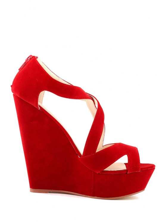 outfit Wedge Heel Suede Hollow Out Design - RED 35