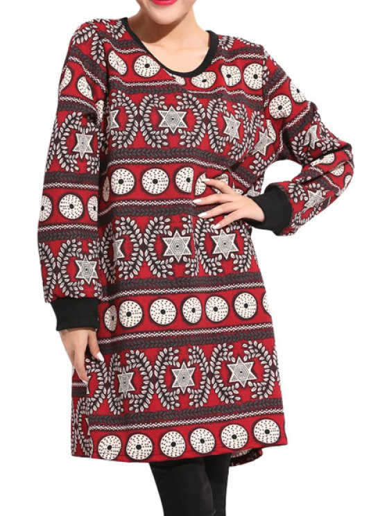 fashion Long Sleeve Geometric Pattern Dress - RED ONE SIZE(FIT SIZE XS TO M)