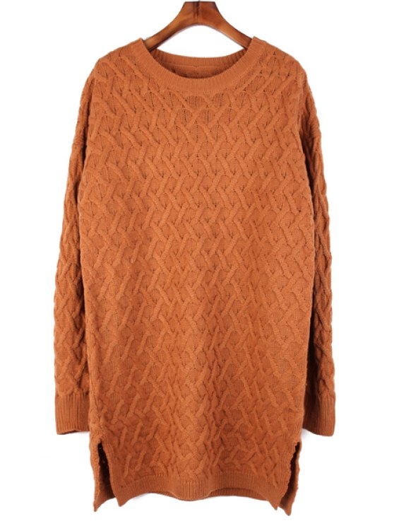 latest Solid Color Long Sleeve Slit Sweater - CAMEL ONE SIZE(FIT SIZE XS TO M)