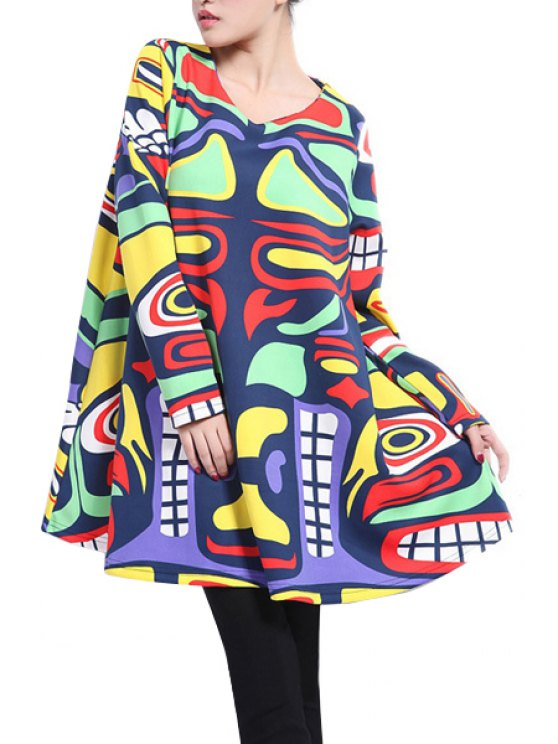 women Long Sleeve Abstract Print Dress - COLORFUL 2XL
