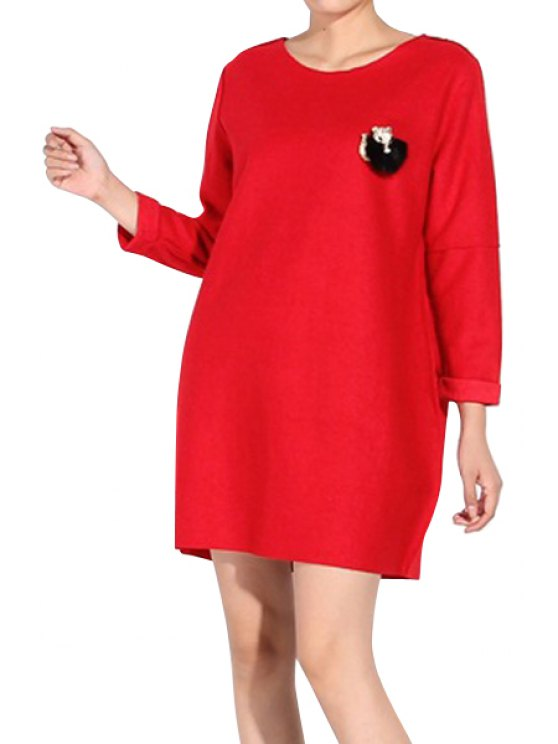 ladies Solid Color Long Sleeve Worsted Dress - RED ONE SIZE(FIT SIZE XS TO M)