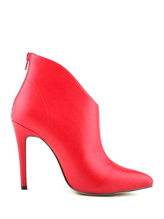 trendy Pointed Toe PU Leather Solid Color Boots - RED 35