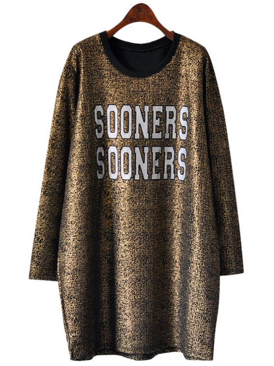shop Letter Pattern Long Sleeve Golden Dress - GOLDEN ONE SIZE(FIT SIZE XS TO M)