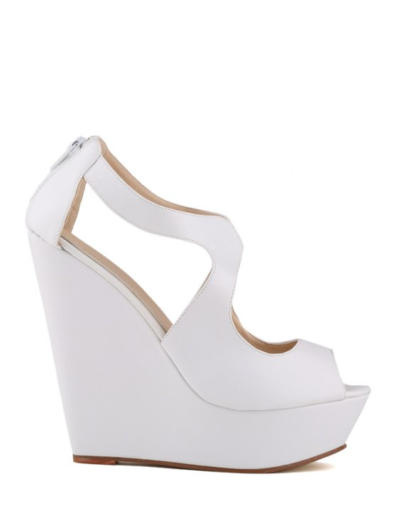 trendy Wedge Heel Solid Color Peep Toe Sandals - WHITE 41