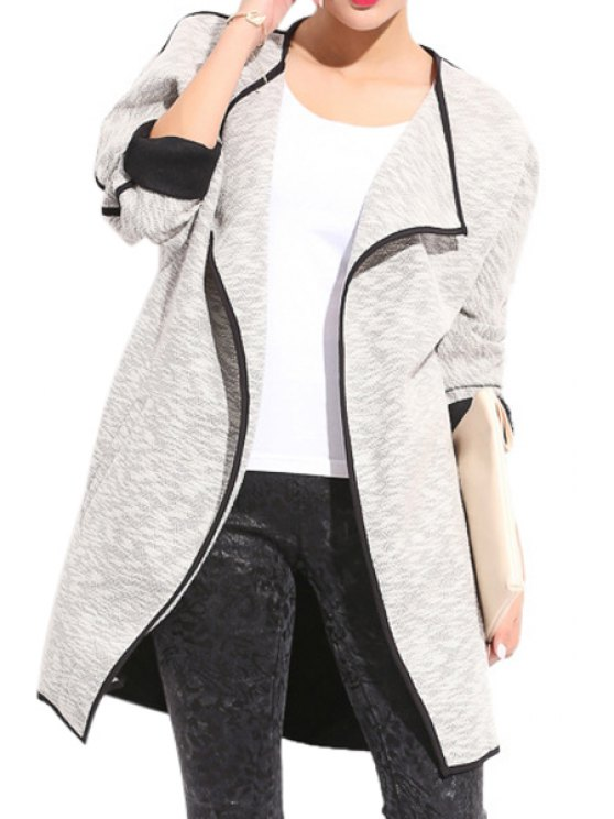 chic Color Block Turn-Down Collar Coat - GRAY XL
