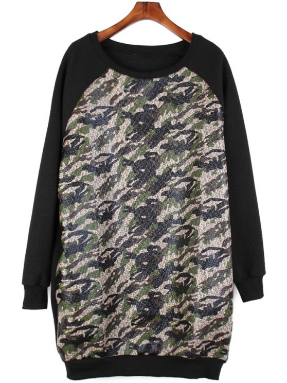shops Camouflage Print Splicing Dress - BLACK ONE SIZE(FIT SIZE XS TO M)