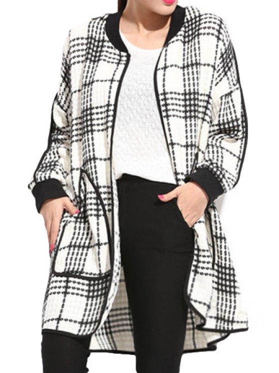unique Long Sleeve Plaid Pattern Coat - WHITE XL