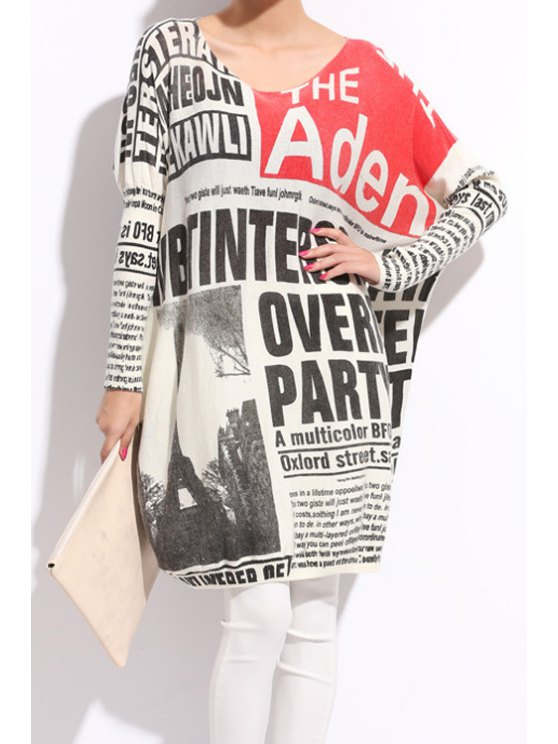hot Newspaper Print Long Sleeve Sweater - WHITE AND BLACK ONE SIZE(FIT SIZE XS TO M)