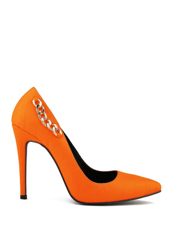 chic Pointed Toe Chain Checked Pumps - ORANGE 42