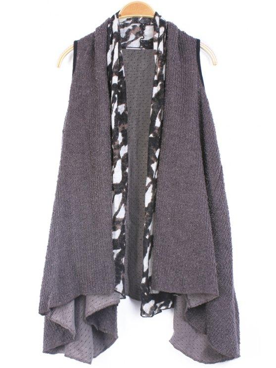 fashion Print Splicing Knit Waistcoat - GRAY ONE SIZE(FIT SIZE XS TO M)