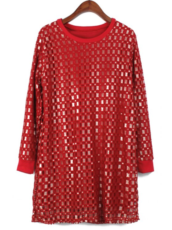 shop Checked Hollow Long Sleeve Dress - WINE RED ONE SIZE(FIT SIZE XS TO M)