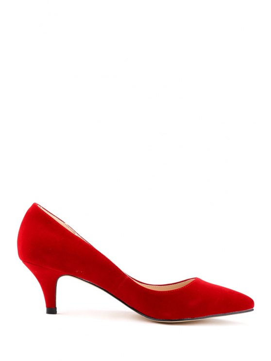 fashion Suede Pointed Toe Solid Color Pumps - RED 42