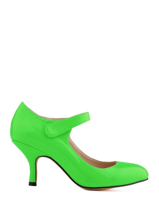 new Patent Leather  Solid Color Pumps - GREEN 35
