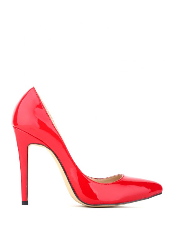 unique Patent Leather Pointed Toe Stiletto Heel Pumps - RED 35