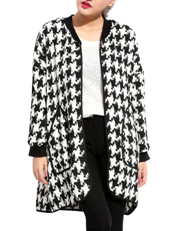 women Houndstooth Pattern Long Sleeve Coat - WHITE AND BLACK XL