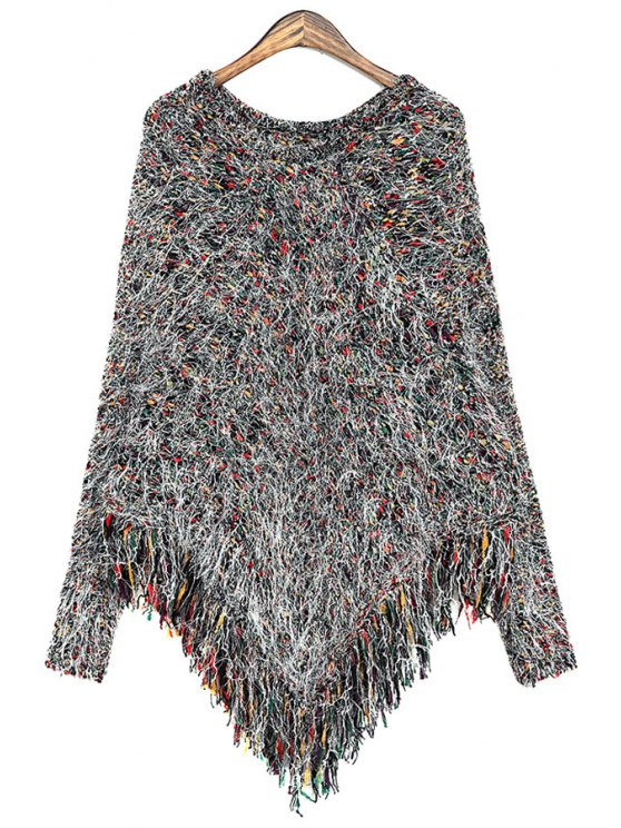 latest Fringe Cape-Style Sweater - BLACK ONE SIZE(FIT SIZE XS TO M)