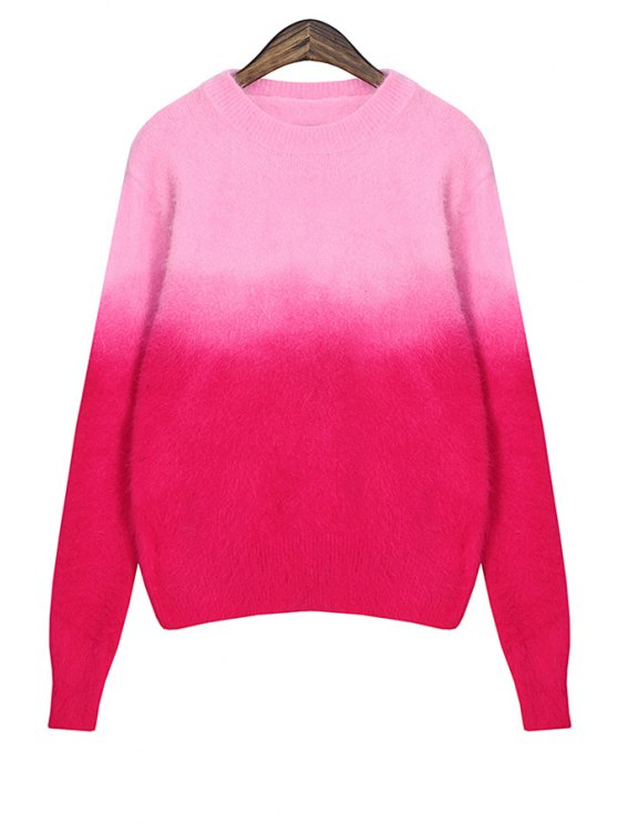 sale Long Sleeve Color Block Sweater - PLUM ONE SIZE(FIT SIZE XS TO M)