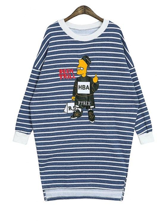 ladies Cartoon Print Striped Sweatshirt - BLUE ONE SIZE(FIT SIZE XS TO M)
