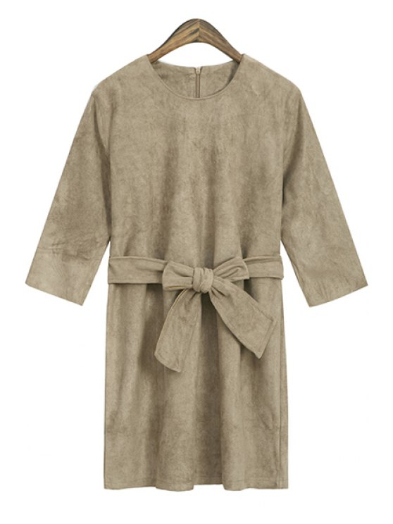 fancy Solid Color Half Sleeve Self-Tie Dress - KHAKI ONE SIZE(FIT SIZE XS TO M)