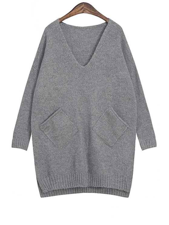 women Solid Color V-Neck Pocket Sweater - GRAY ONE SIZE(FIT SIZE XS TO M)