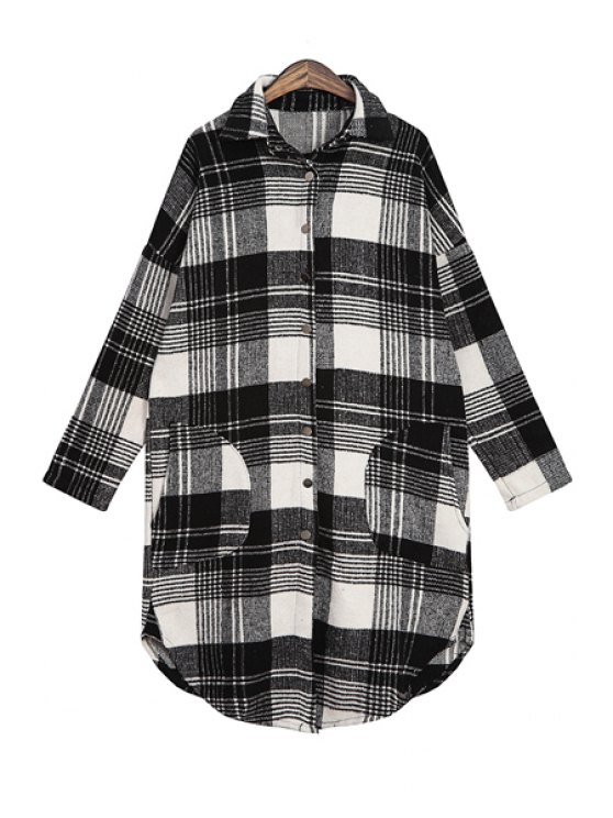 shops Plaid Print Long Sleeve Pocket Shirt - BLACK ONE SIZE(FIT SIZE XS TO M)