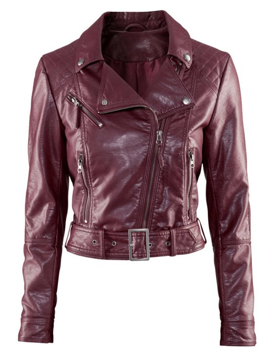 women Lapel Collar PU Leather Jacket - WINE RED XS