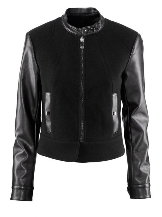 latest PU Leather Splicing Stand Collar Jacket - BLACK XS