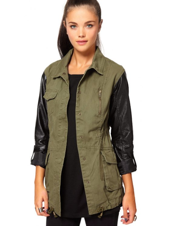 shop Long Sleeve PU Leather Splicing Coat - ARMY GREEN XS