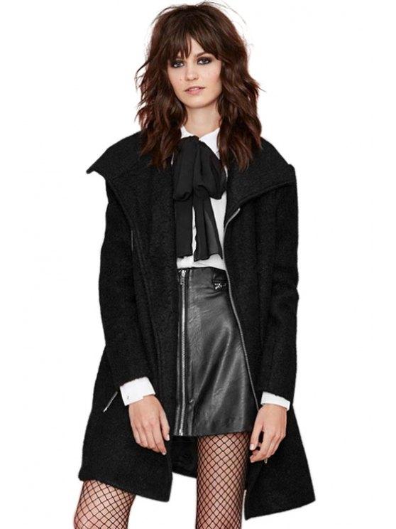women Black Zipper Worsted Coat - BLACK XS