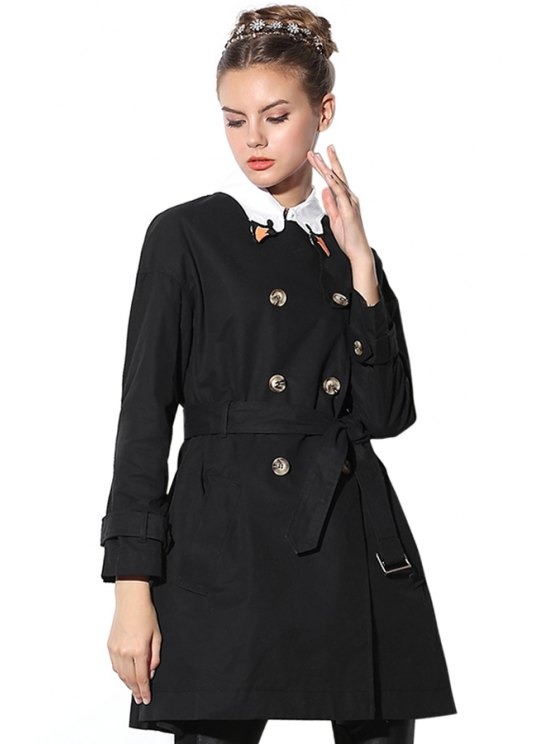 unique Long Sleeve Double-Breasted Belt Trench Coat - BLACK XS