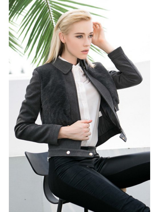 new Faux Fur Splicing Long Sleeve Jacket - GRAY S