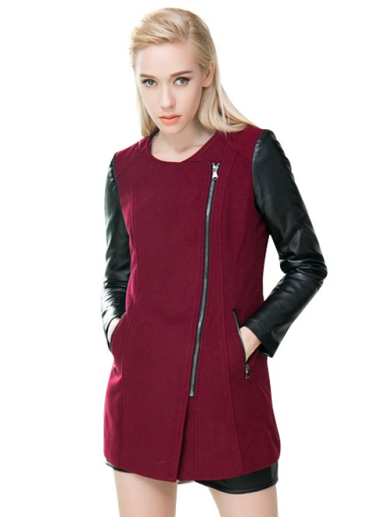 latest PU Leather Worsted Splicing Coat - WINE RED S