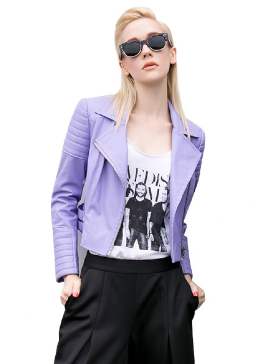 latest Lapel Collar Purple PU Leather Jacket - PURPLE S