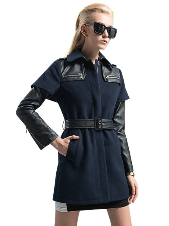 sale PU Leather Splicing Belt Coat - PURPLISH BLUE S